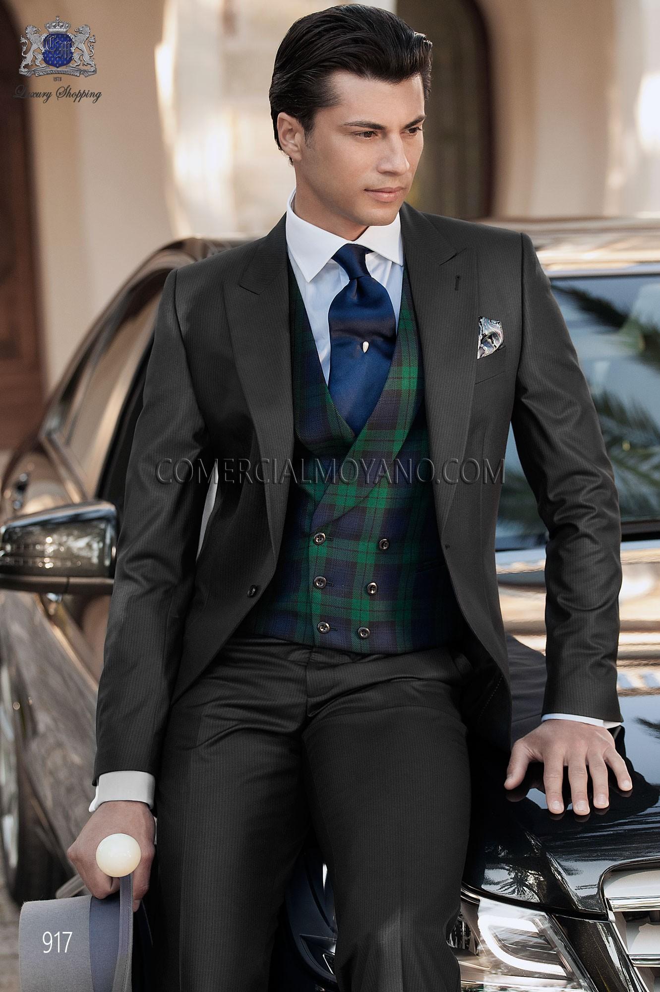 Italian bespoke black wedding morning suit 917 Ottavio Nuccio Gala