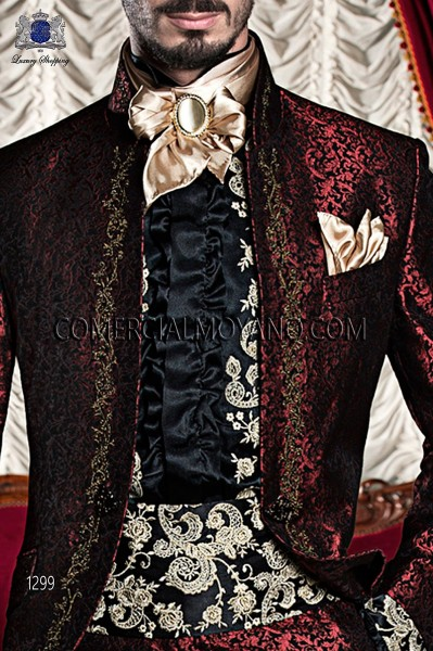 Black satin embroidered cummebund 10254-4100-8023 Ottavio Nuccio Gala.