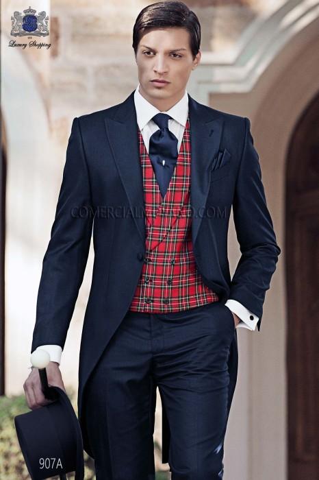 Italian blue morning wedding suit