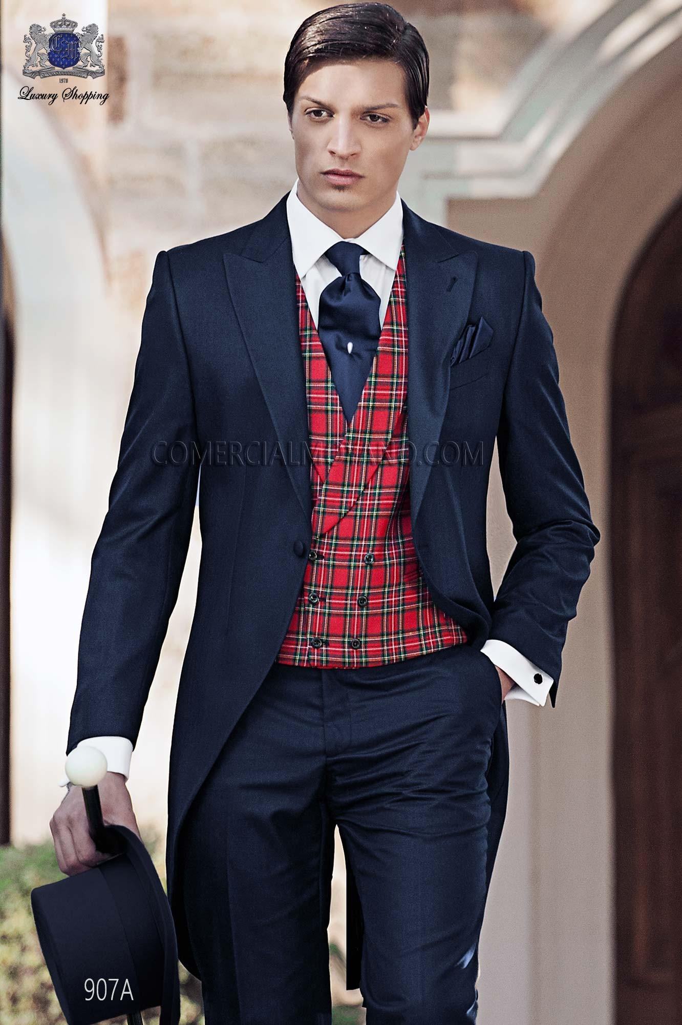 Italian blue morning wedding suit style 907A Ottavio Nuccio Gala.