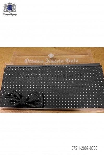 Black silk cummerbund and bow tie 57511-2887-8300 Ottavio Nuccio Gala.