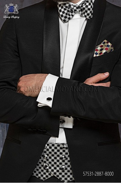 Black silk cummerbund and bow tie 57531-2887-8000 Ottavio Nuccio Gala.