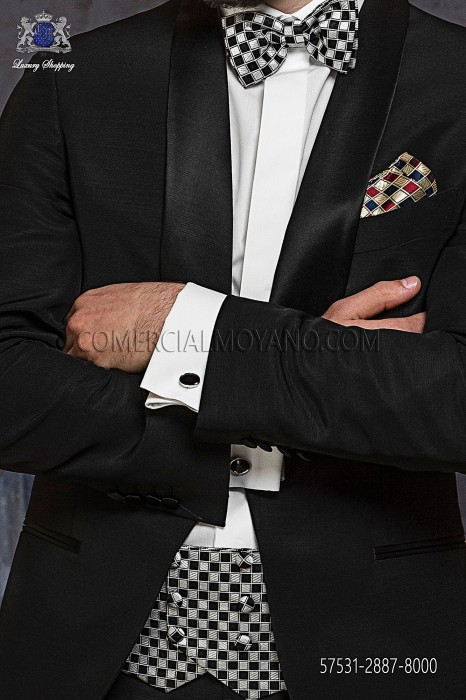 Black silk cummerbund and bow tie 57531-2887-8000 Ottavio Nuccio Gala.