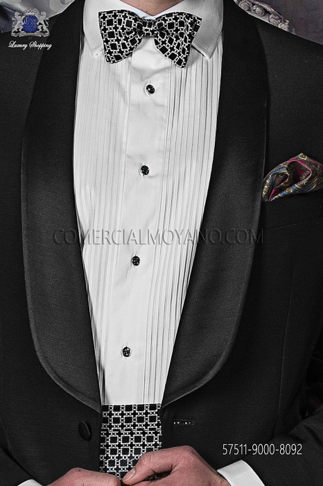 Black and white cummerbund & bow tie 57511-9000-8092 Ottavio Nuccio Gala.