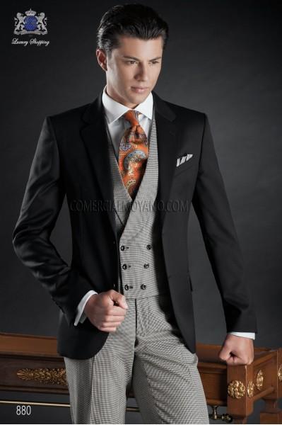 Italian wool black groom suit