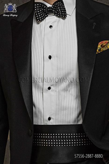 Black polka dots cummerbund and bow tie 57556-2887-8880 Ottavio Nuccio Gala.