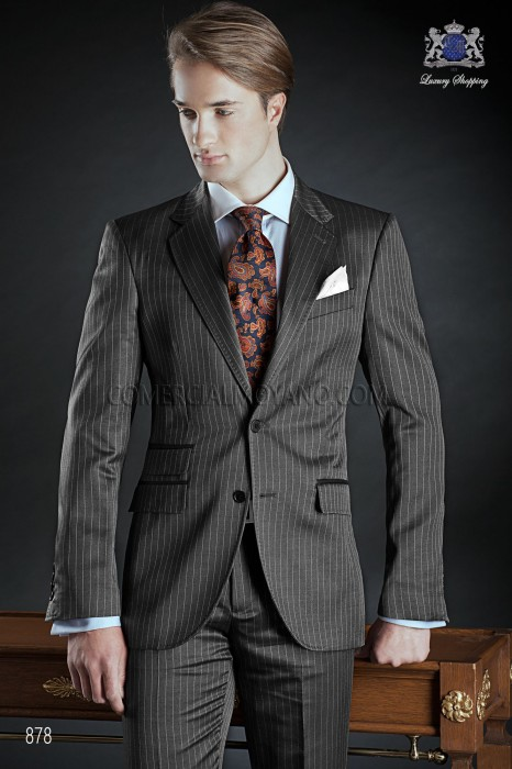 Italian bespoke gray wedding suit