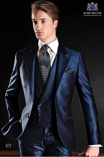 Blue italian fashion men suit