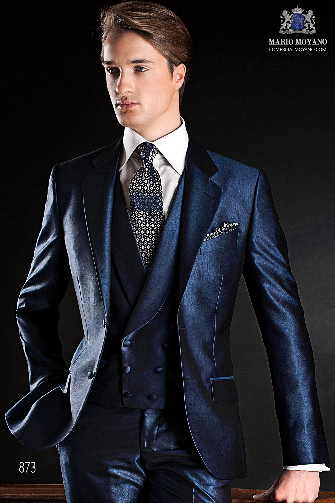 Gentleman blue men wedding suit model 873 Ottavio Nuccio Gala