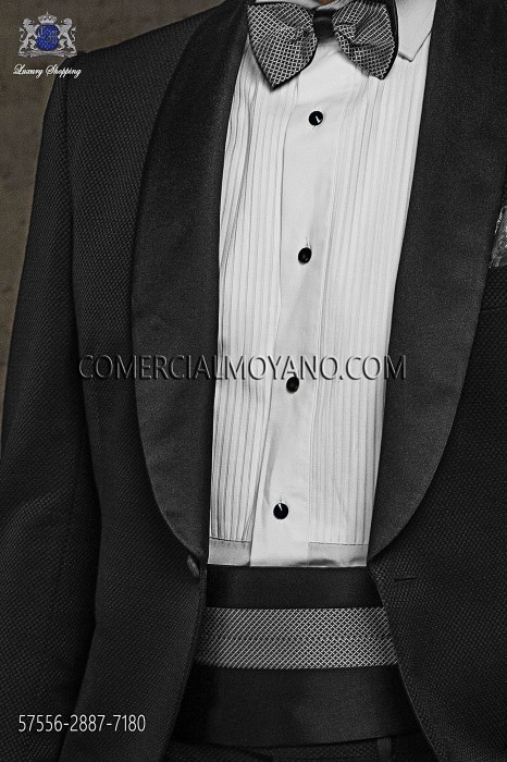 Two-coloured silk cummerbund and bow tie 57556-2887-7180 Ottavio Nuccio Gala.