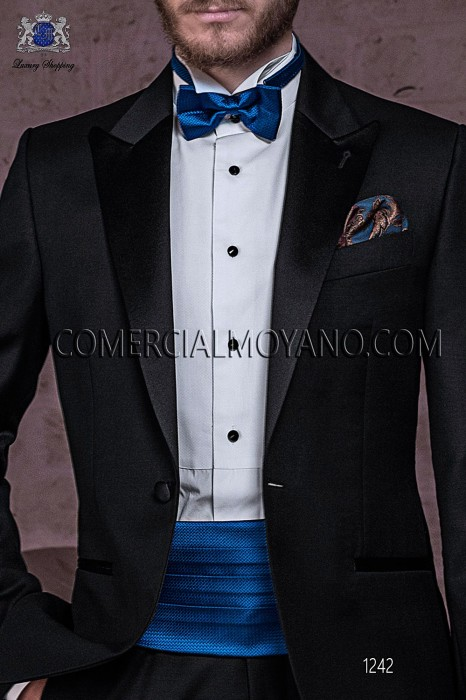 Blue cummerbund and bow tie set 57521-2887-5300 Ottavio Nuccio Gala.