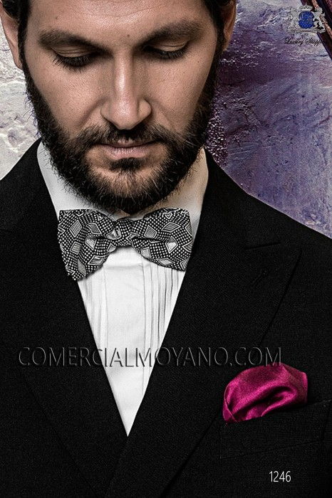 Gray silk cummerbund and bow tie set 57511-9000-7091 Ottavio Nuccio Gala.