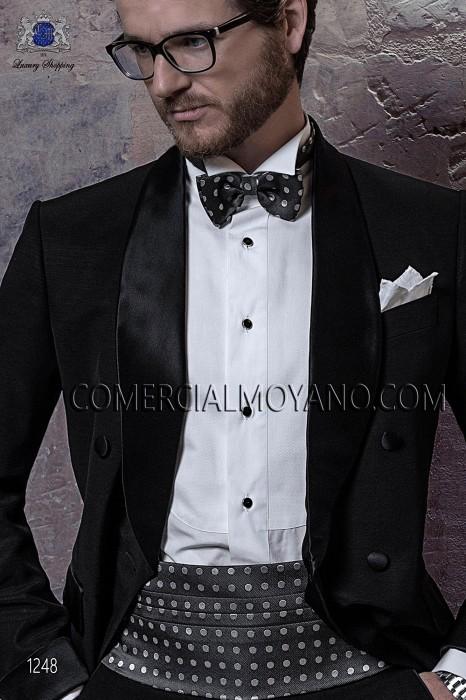 Gray-white silk cummerbund and bow tie set 57511-9000-7090 Ottavio Nuccio Gala.