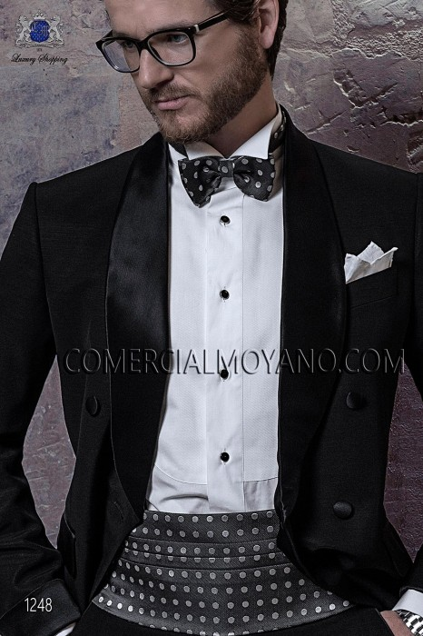 Gray-white silk cummerbund and bow tie set 57511-9000-7090 Ottavio Nuccio Gala.