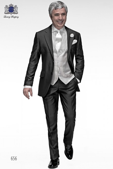 Italian gray short frock coat wedding suit