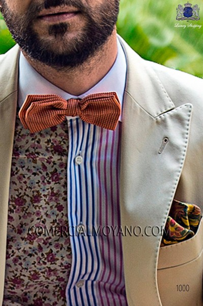 Orange 100% silk bow tie 10272-9000-2998 Ottavio Nuccio Gala.