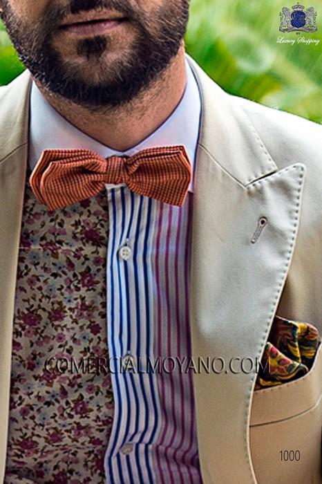 Orange 100% silk bow tie 10272-9000-2998 Ottavio Nuccio Gala.