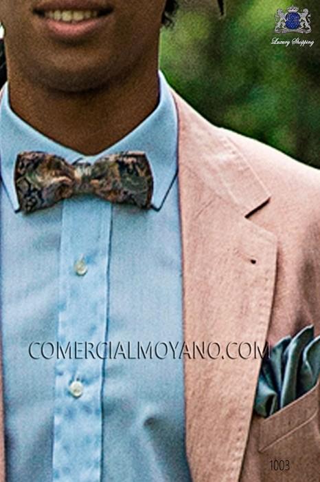Blue-pink jacquard silk bow tie 10272-9000-5197 Ottavio Nuccio Gala.