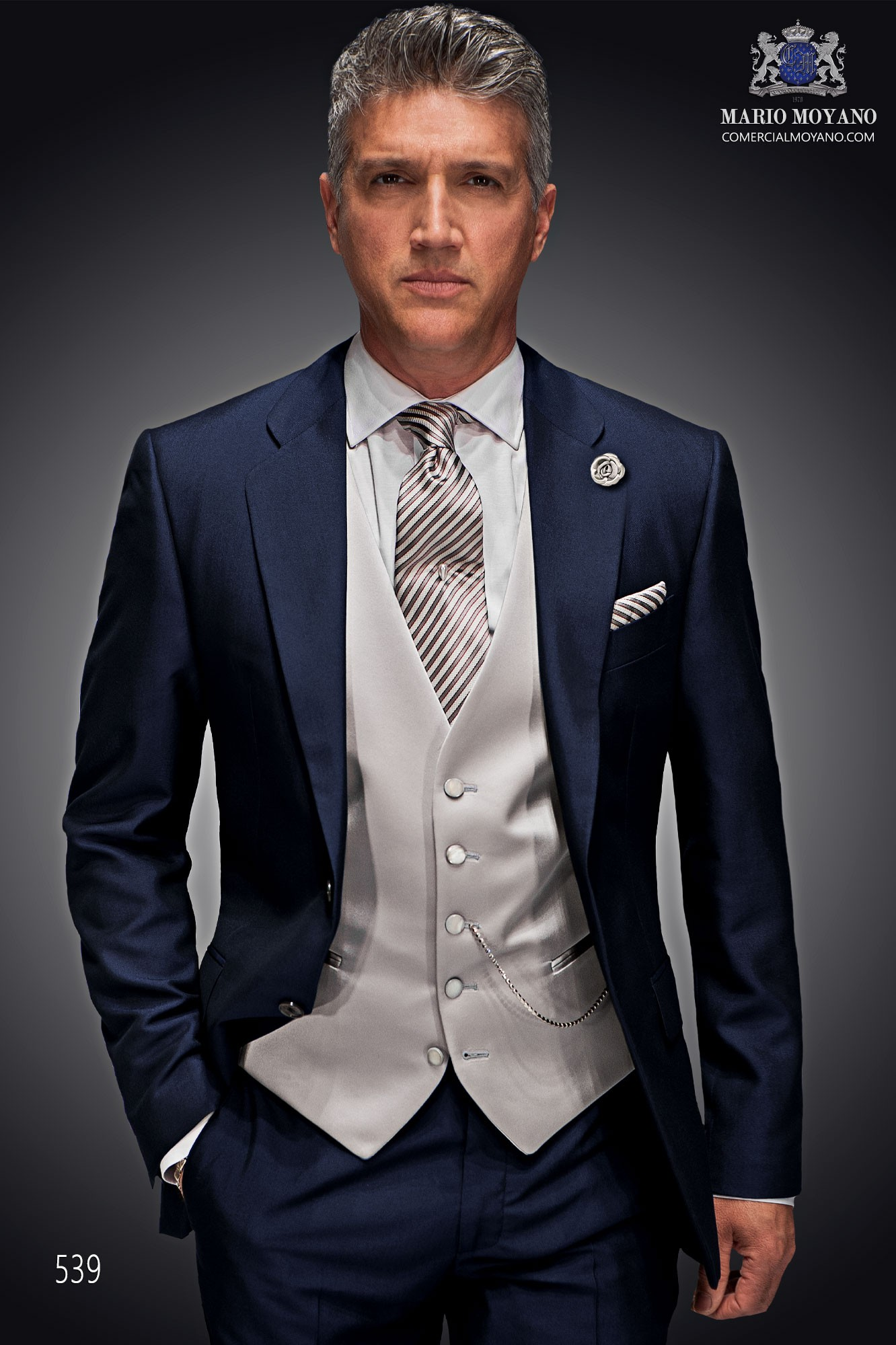 Gentleman blue men wedding suit model 539 Ottavio Nuccio Gala