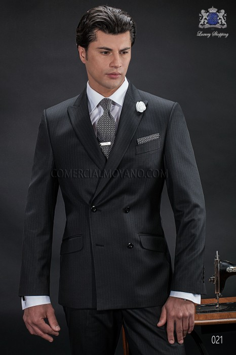 Italian bespoke double breasted suit, 6 buttons, in new performance fabric, black pinstripe, style 021 Ottavio Nuccio Gala, 2015 Gentleman collection.