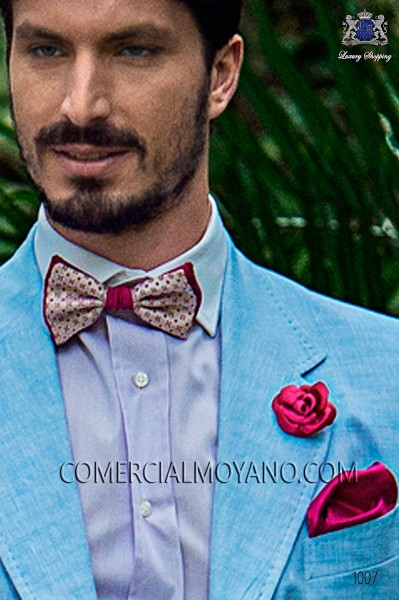 Fuchsia jacquared silk bow tie and handkerchief set 56589-2835-1435 Ottavio Nuccio Gala.