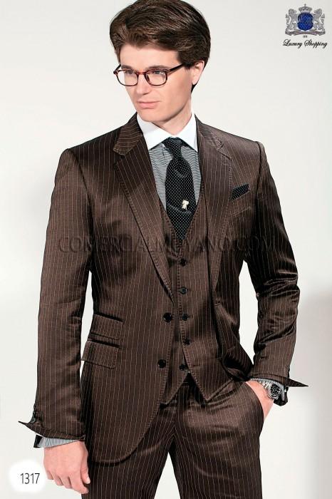 Italian bespoke brown men wedding suit