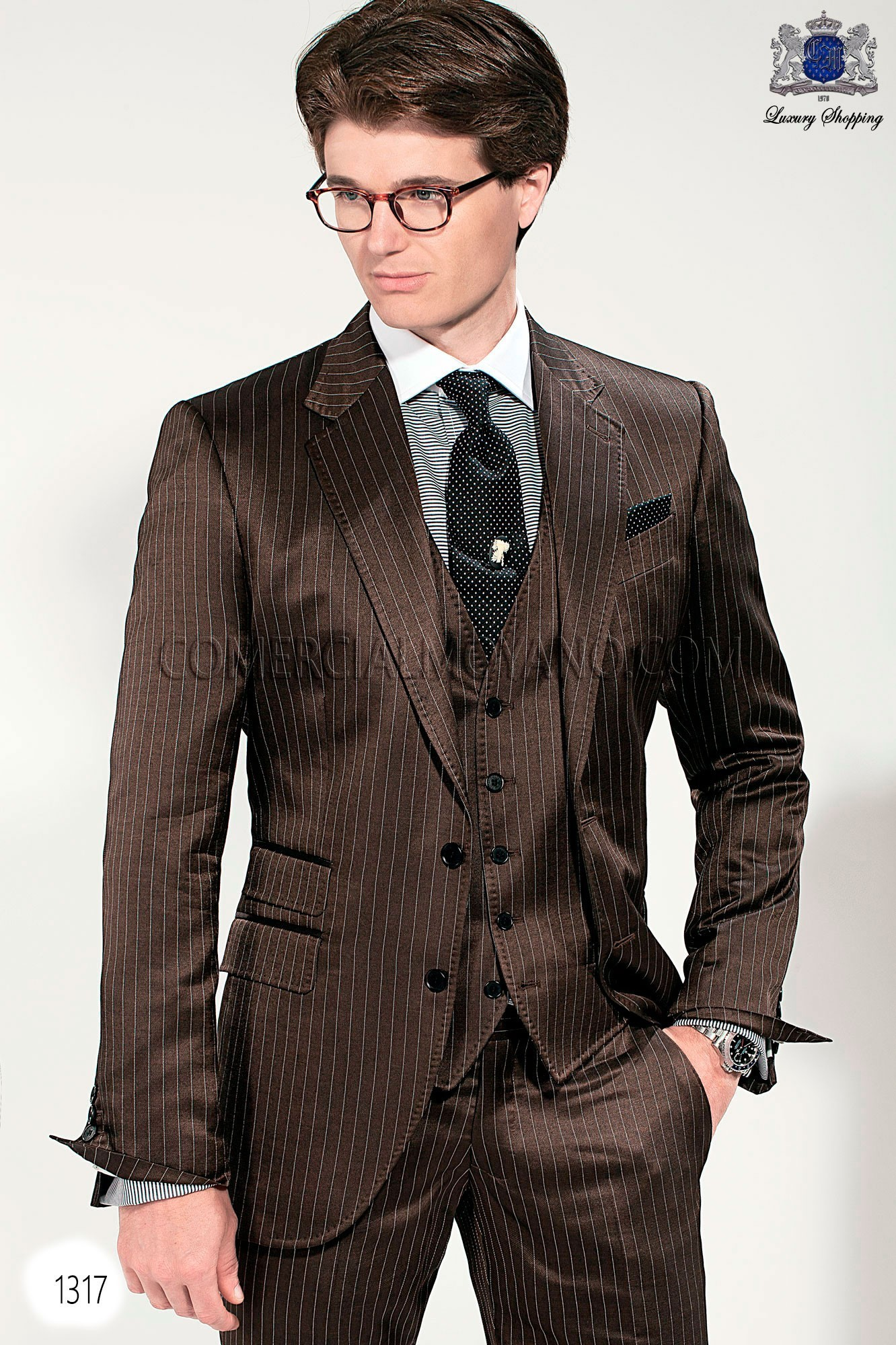 Gentleman brown men wedding suit model 1317 Mario Moyano