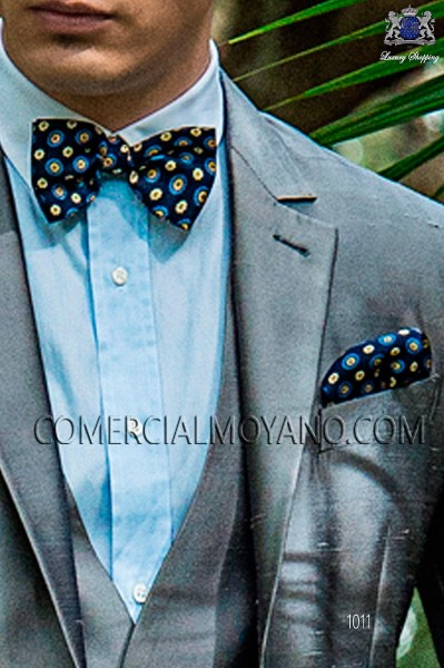 Blue jacquard silk bow tie with handkerchief 56572-1924-5000 Ottavio Nuccio Gala.