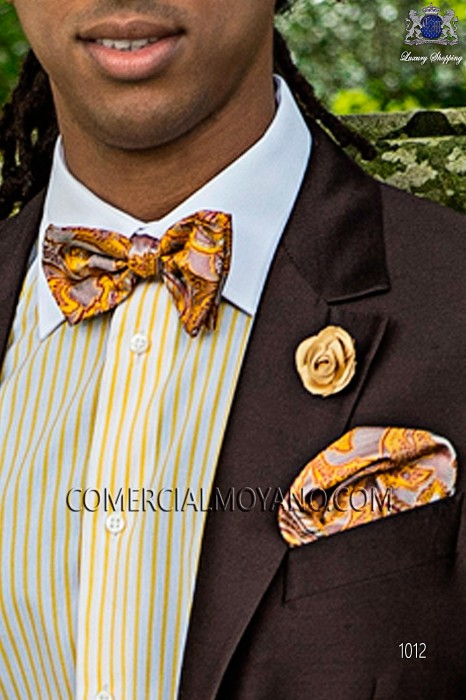 Orange jacquard silk bow tie with handkerchief 56572-2792-2900 Ottavio Nuccio Gala