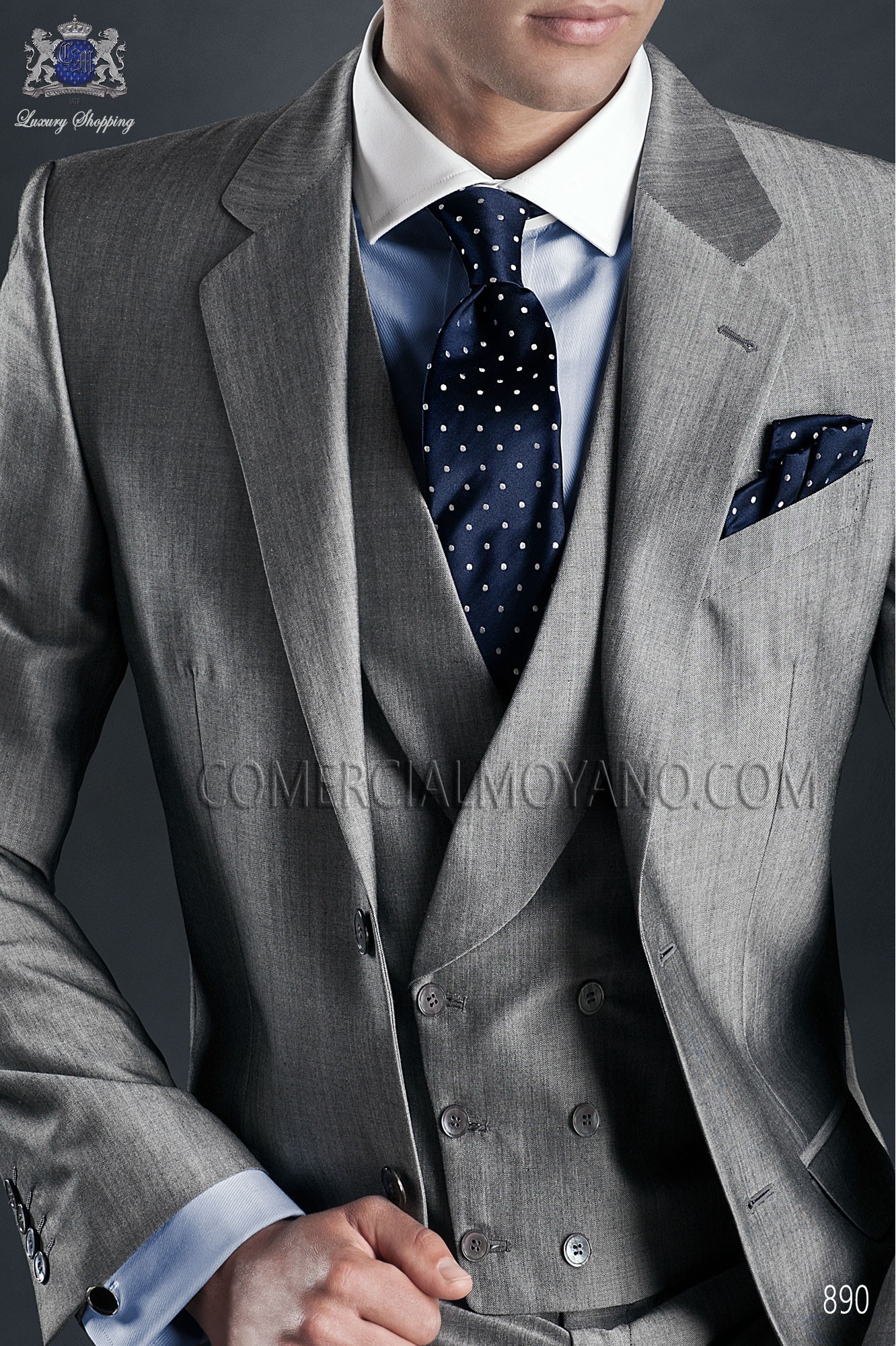 Italian gentleman grey men wedding suit, model: 890 Ottavio Nuccio Gala Gentleman Collection