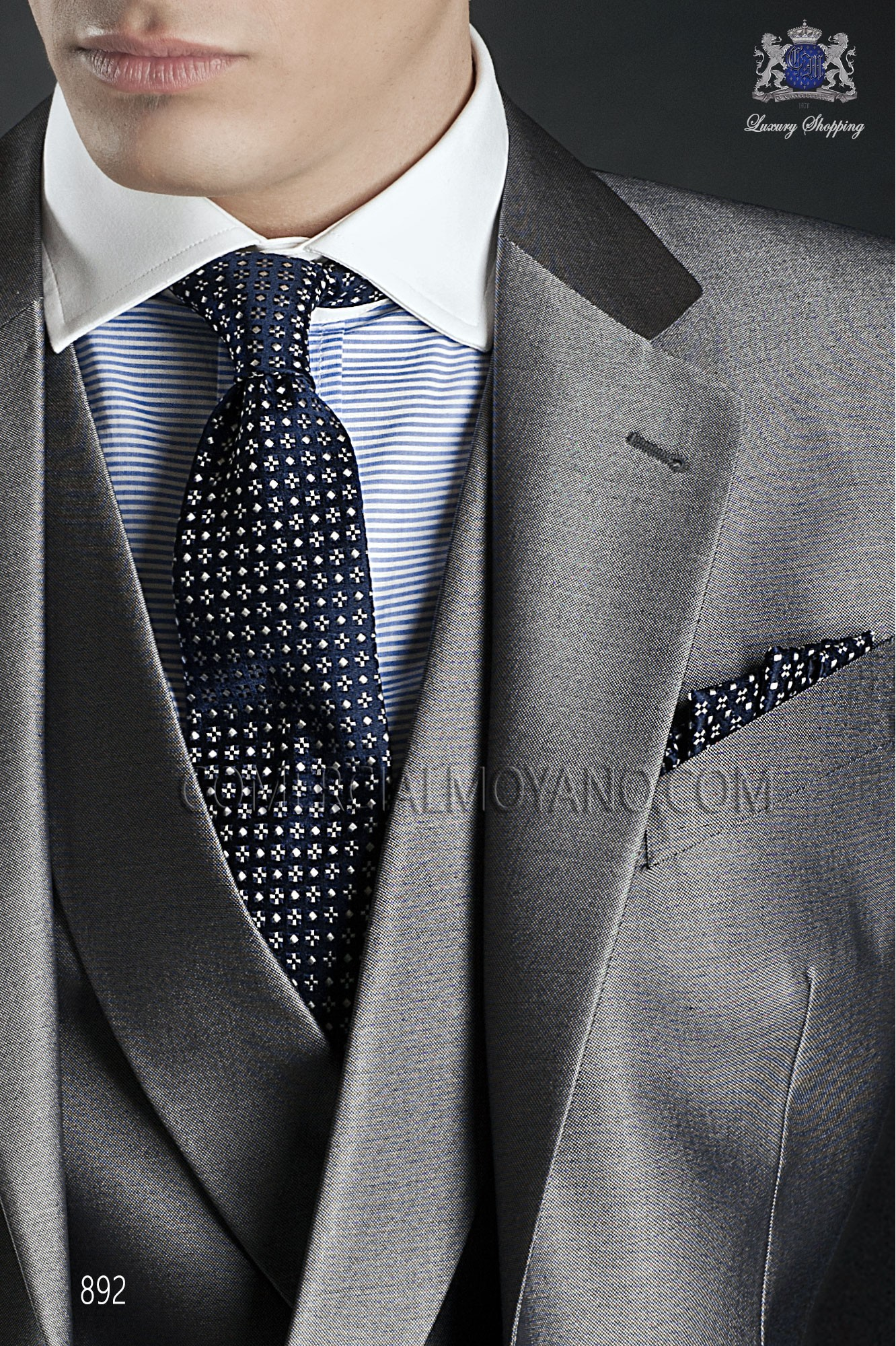 Italian gentleman pearl gray men wedding suit, model: 892 Ottavio Nuccio Gala Gentleman Collection