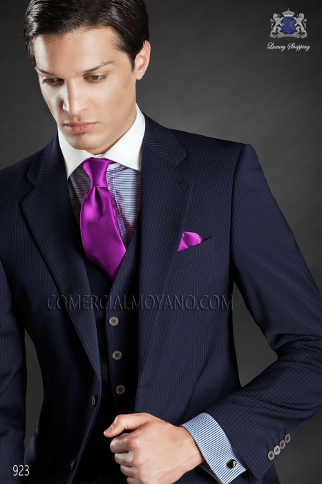 Italian bespoke blue wedding suit