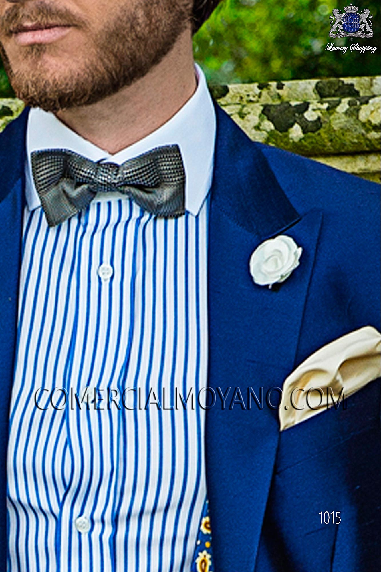 Blue jacquard silk bow tie, Ottavio Nuccio Gala.