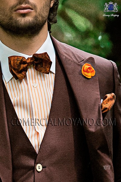 Orange jacquard silk bow tie and handkerchief set 56572-2632-2900 Ottavio Nuccio Gala.