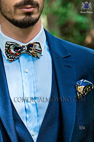 Blue patterned silk designer bow tie and handkerchief set 56572-2861-5000 Ottavio Nuccio Gala.