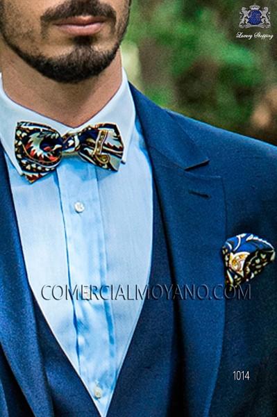 Blue patterned silk designer bow tie and handkerchief set 56572-2861-5000 Ottavio Nuccio Gala.