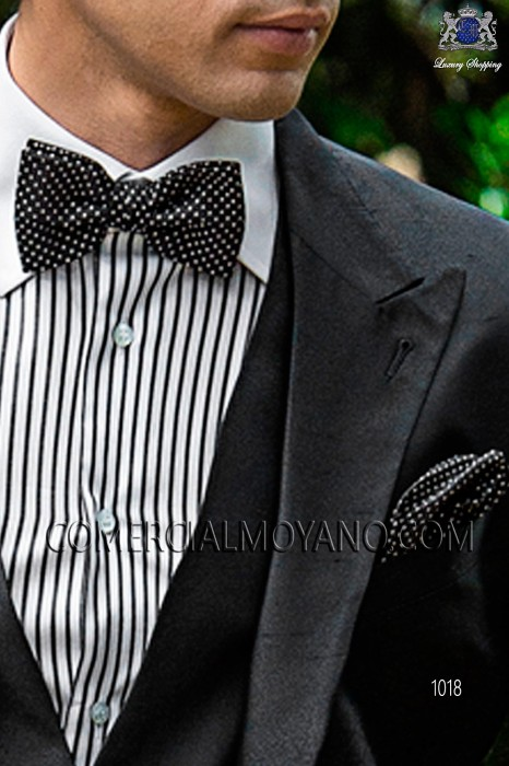 Black and white polka dots silk bow tie and handkerchief set 56572-2846-8100 Ottavio Nuccio Gala.