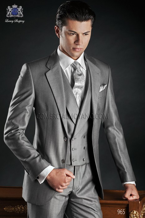 Italian gray wool silk suit