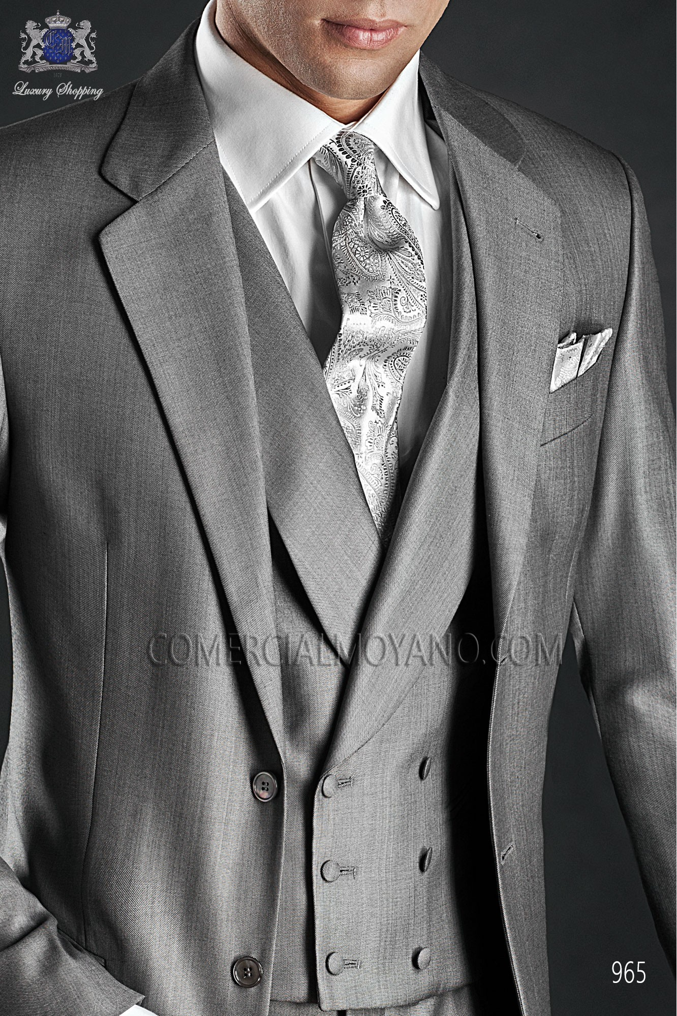Italian Gentleman Grey Men Wedding Suit Model 965 Ottavio Nuccio Gala Collection