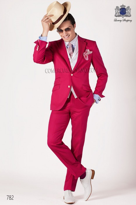 Fuchsia cotton pique fashion suit