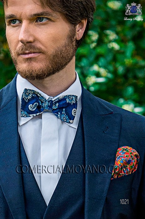 Blue bow tie in jacquard silk fabric 10272-9000-5087 Ottavio Nuccio Gala.