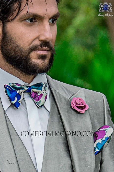 Sky blue floral patterned designer silk bow tie and handkerchief set 56572-2861-5500 Ottavio Nuccio Gala.