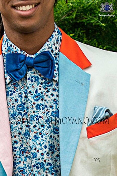 Blue pure silk bow tie 10272-2887-5300 Ottavio Nuccio Gala.