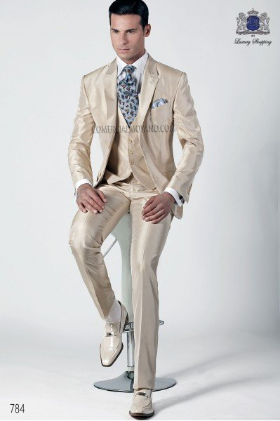 Ivory silk italian fashion three-piece suit