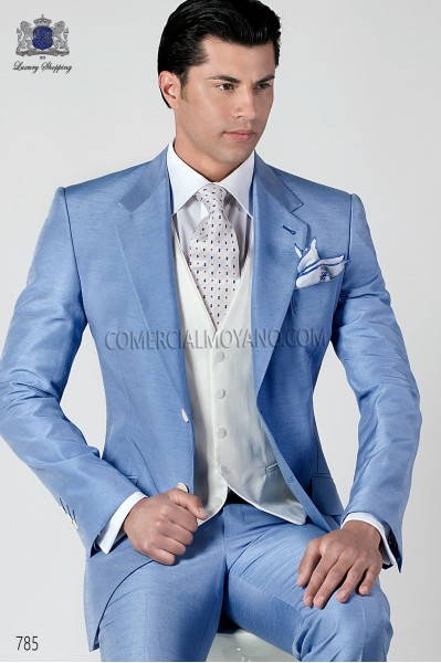 Sky blue shantung italian fashion suit