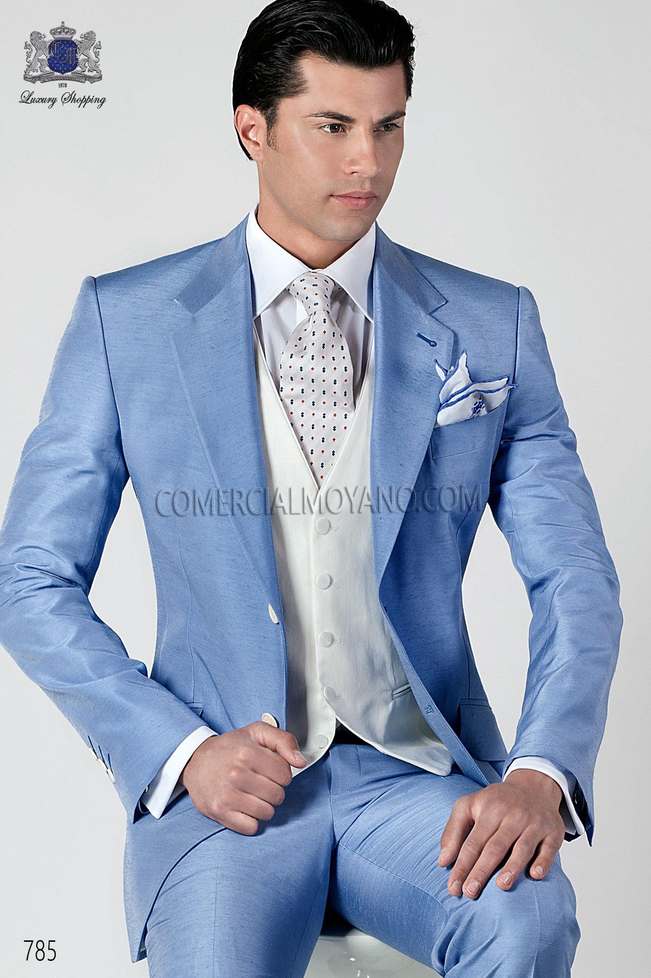 Italian bespoke sky blue shantung suit, style 785 Ottavio Nuccio Gala