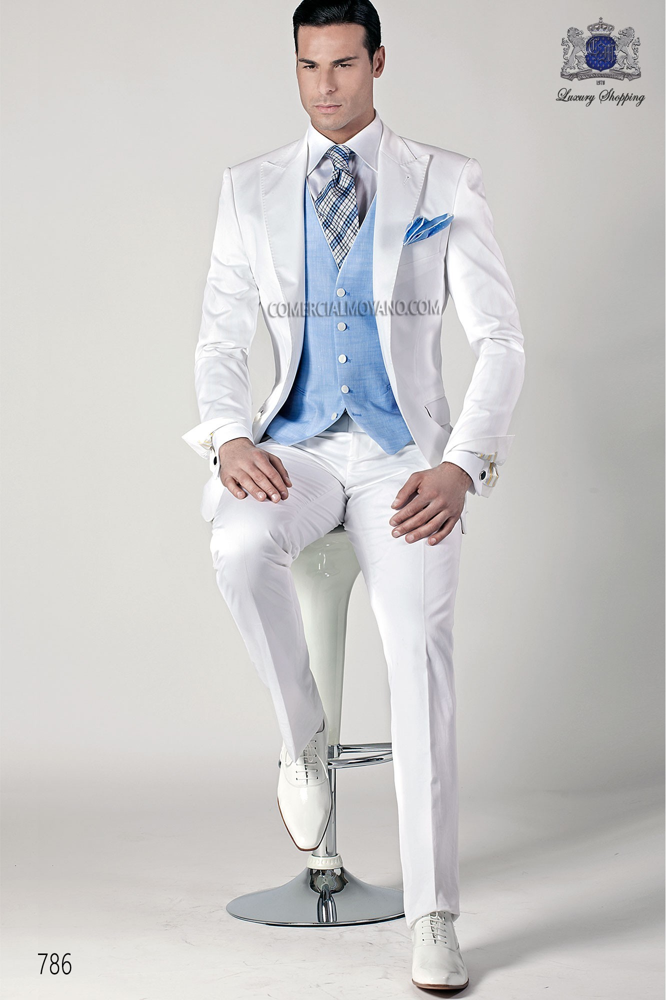 Hipster white men wedding suit model 786 Ottavio Nuccio Gala