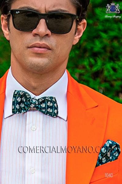 Green jacquard silk bow tie and hankerchief set 56572-9000-4088 Ottavio Nuccio Gala.