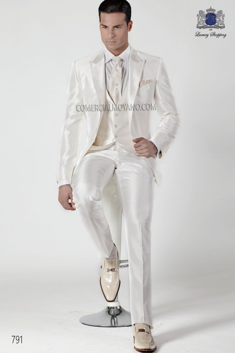 White silk shantung fashion men suit three-piece