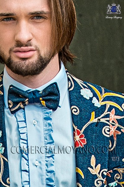 Two-coloured embroidered denim bow tie 10289-5206-5251 Ottavio Nuccio Gala.